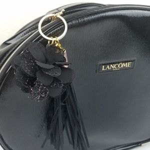 LANCOME Round Black Travel Makeup Cosmetic Bag